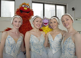 New York City Ballet dancers Alina Dronova, Callie Bachman, Sara Adams and Kristen Segin with Sesame Street, People in Your Neighborhood
